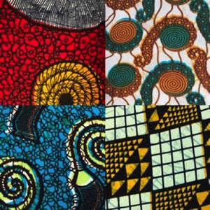 Montage of African fabric-themed decor at Nyama Mama restaurant, Nairobi
