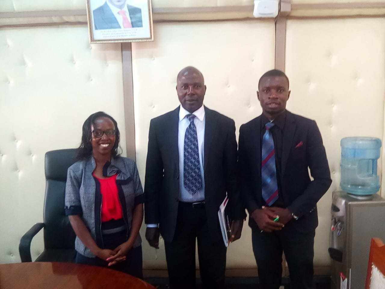 Nelson Bwire [R], founder of the newly-registered Gaming Awareness Society of Kenya, with Oluoch Ngicho [C], chief gaming inspector with the Kenyan Betting Control and Licensing Board (BCLB), and a colleague (February 2019)