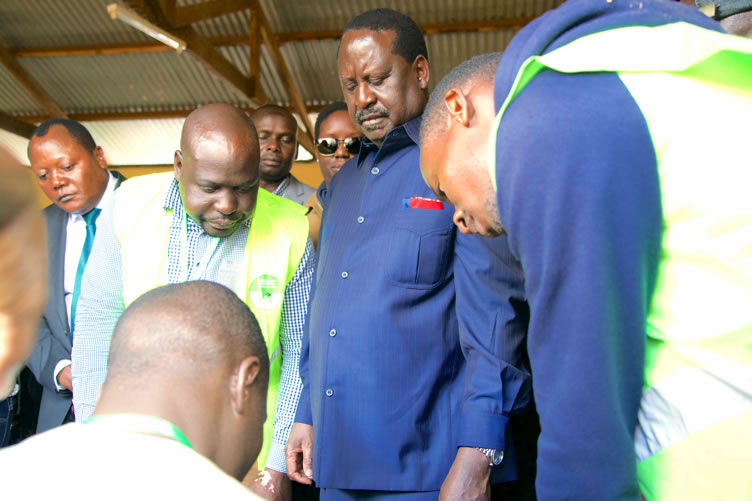 ODM leader Raila Odinga at Old Kibera Primary school polling station to cast his vote.