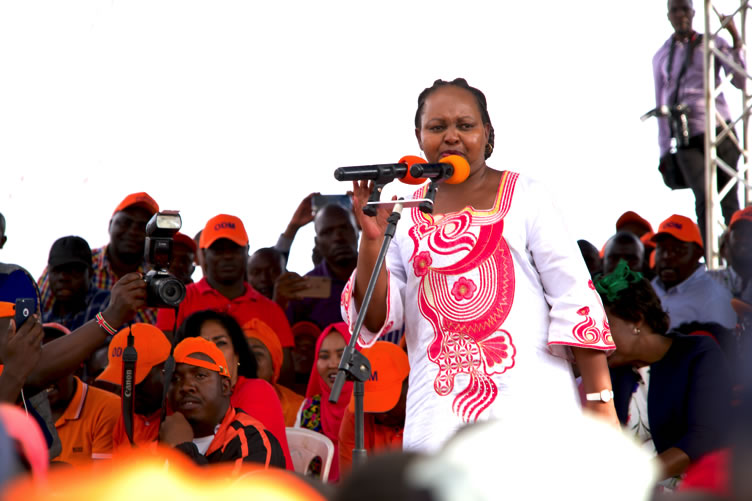 Governor Waiguru at Joseph Kangethe Grounds in Kibra on Sunday the 3rd of November to drum up support for the ODM candidate