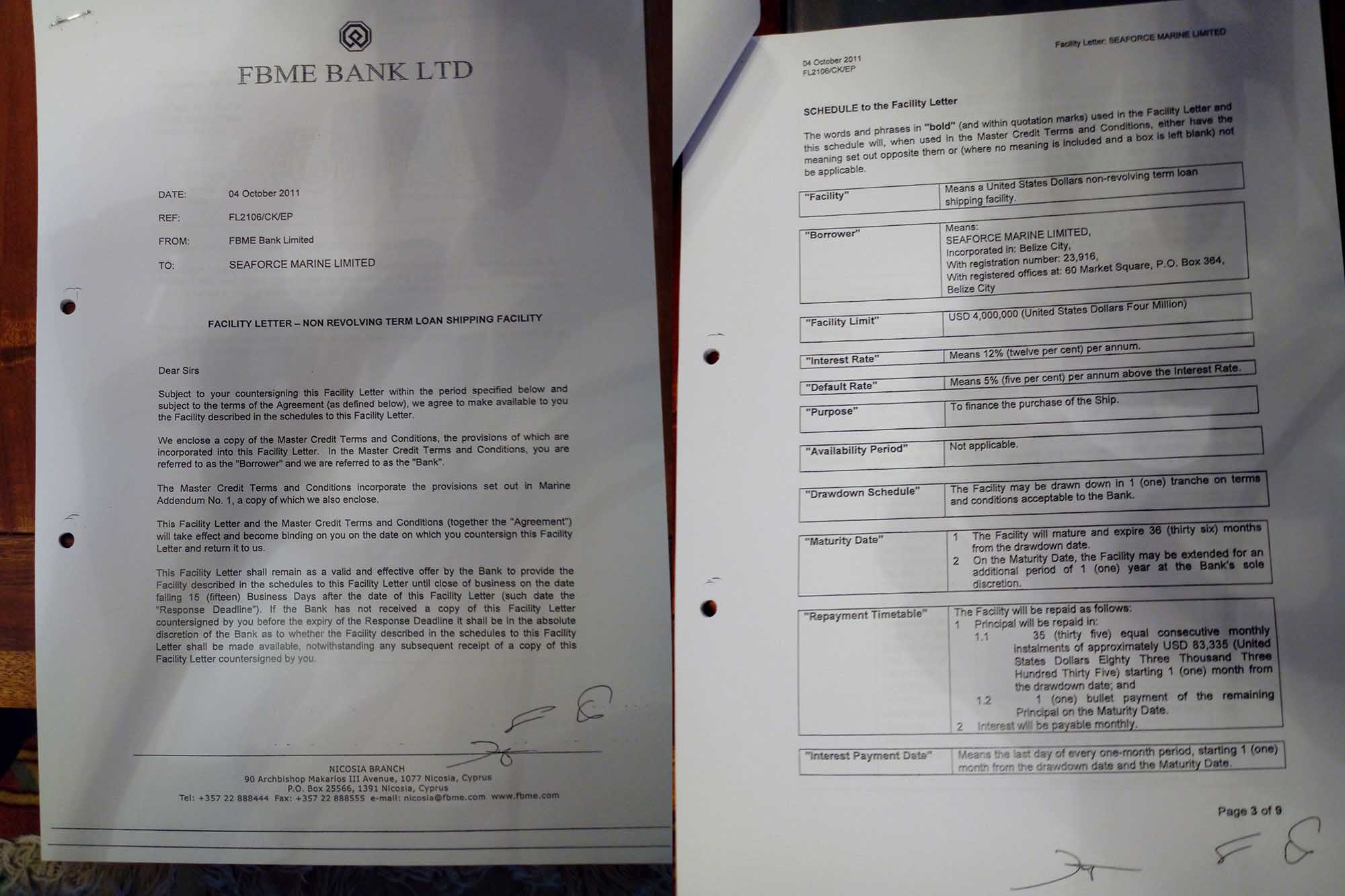 Two pages from a 2011 loan from FBME to Manoli to purchase the MV Sakhalin. Credit: OCCRP