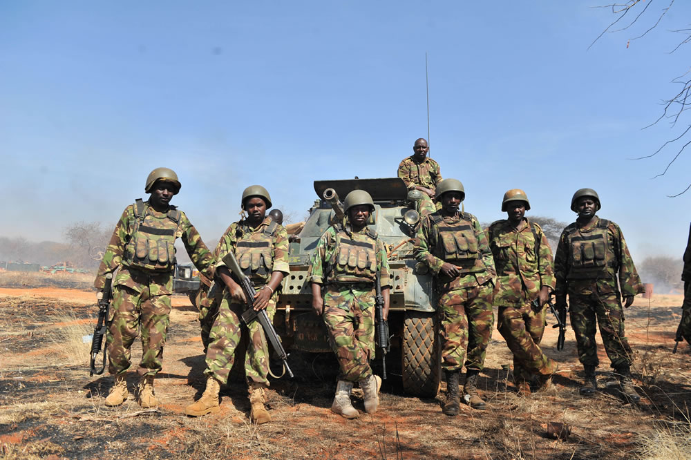 Kenyan Defence Forces serving under the African Union Mission in Somalia (AMISOM) man their position at El-Adde in the southwestern Gedo region of Somalia on January 22, 2016. AMISOM Photo/ Abdisalan Omar