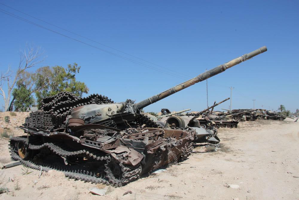 Destroyed tanks in Masrata, 2012. Photo. Flickr/joepyrek