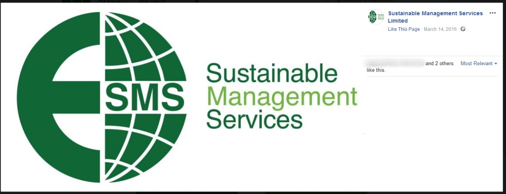 Screenshot of Sustainable Management Services Ltd's Facebook page