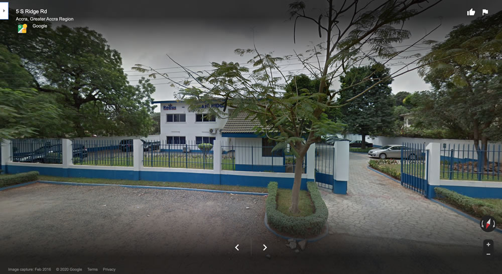 Google Street View of the building registered as Google's office in Accra