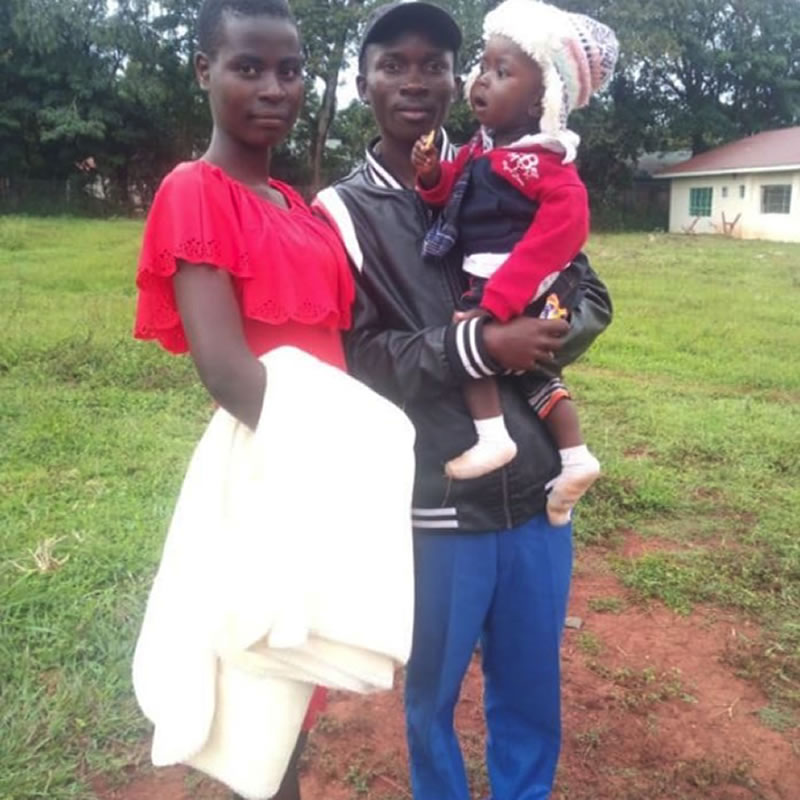 Fredrick and his young family in 2020. Fred plans to join ECD program soon, funds permitting.