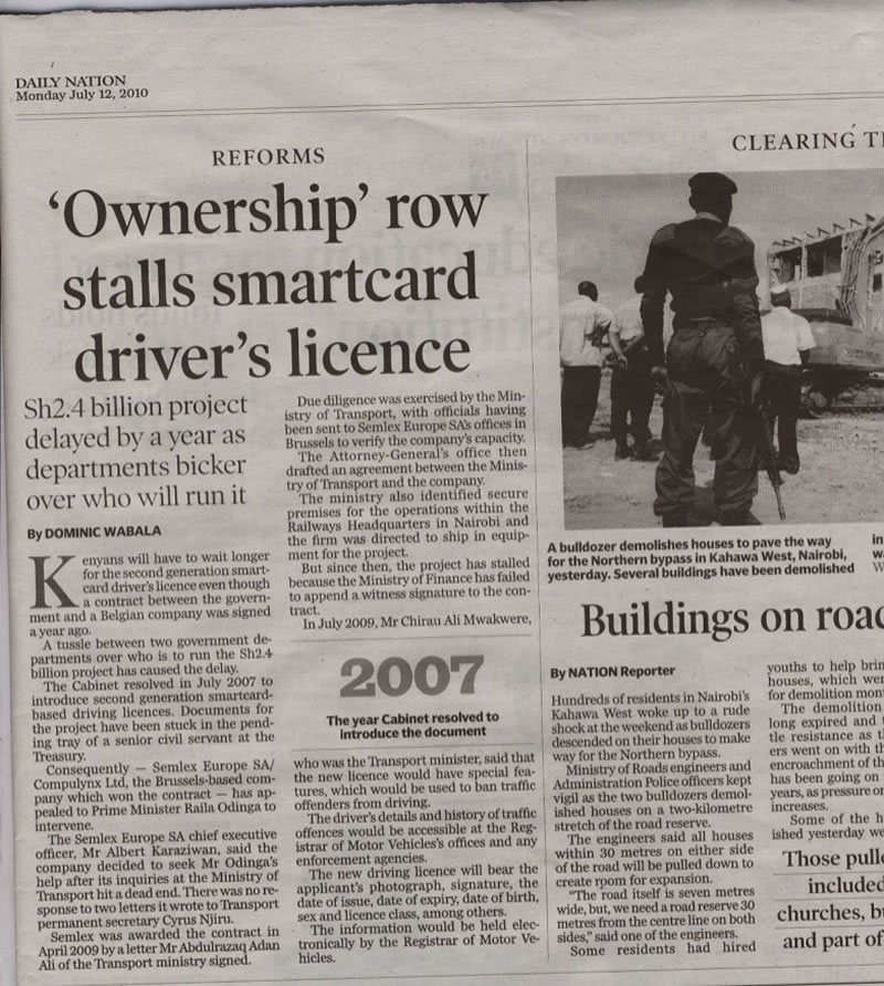 Media stories cited a mysterious dispute between the ministries of Transport and Finance. A 2010 article in Daily Nation framed the conflict as a struggle over which agency would run the lucrative contract. Credit: OCCRP