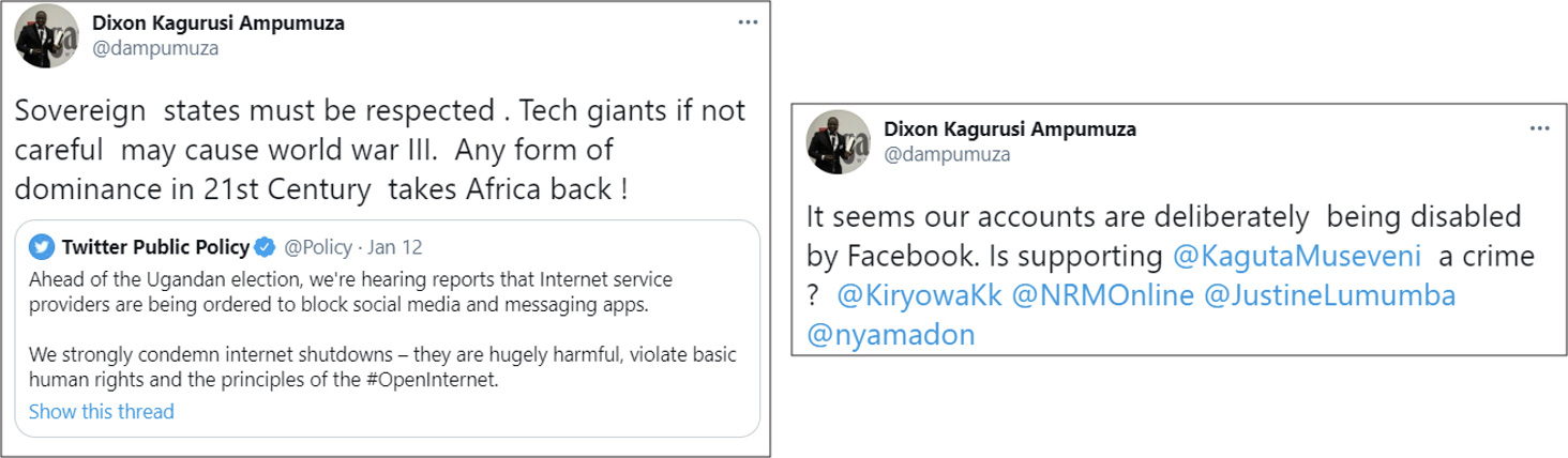 Ampumuza questioned Facebook's decision to remove NRM-related content, asking if supporting Museveni was a crime. (Source: @dampumuza/archive, left; @dampumuza/archive, right)