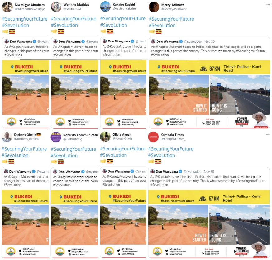Robusto Communications' Twitter account was part of a small network that tweeted the same content. (Source: top row, left to right, @AbrahamMwesigye/archive; @WerikheM/archive; @rashid_kakaire/archive; @MercyAsiimwe2/archive; bottom row, left to right, @dickens_okello1/archive; @RobustoUg/archive; @AkechOlivia/archive; @KampalaTimes_/archive)