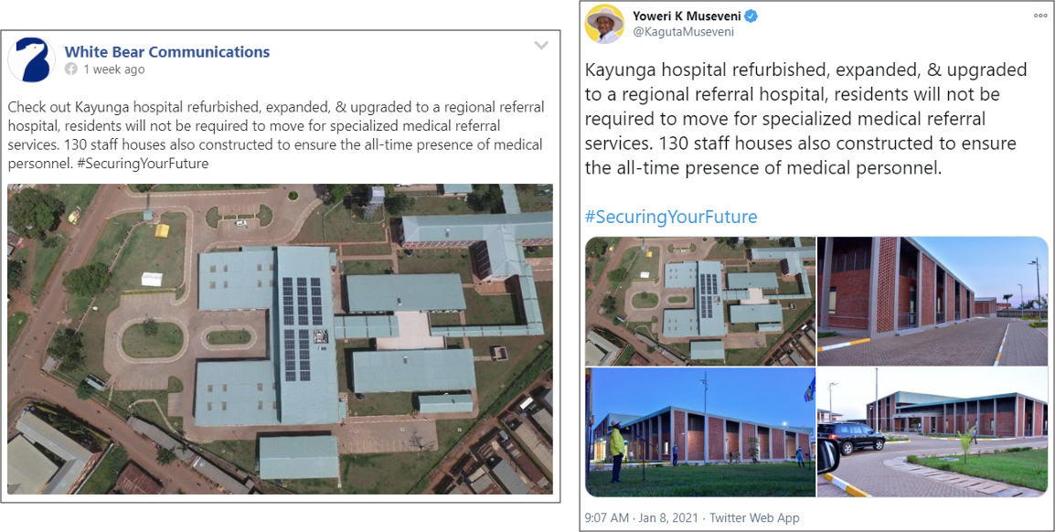 The Facebook page for White Bear Communications copied a tweet for Museveni's official Twitter account. (Source: Facebook, left; @KagutaMuseveni/archive, right)