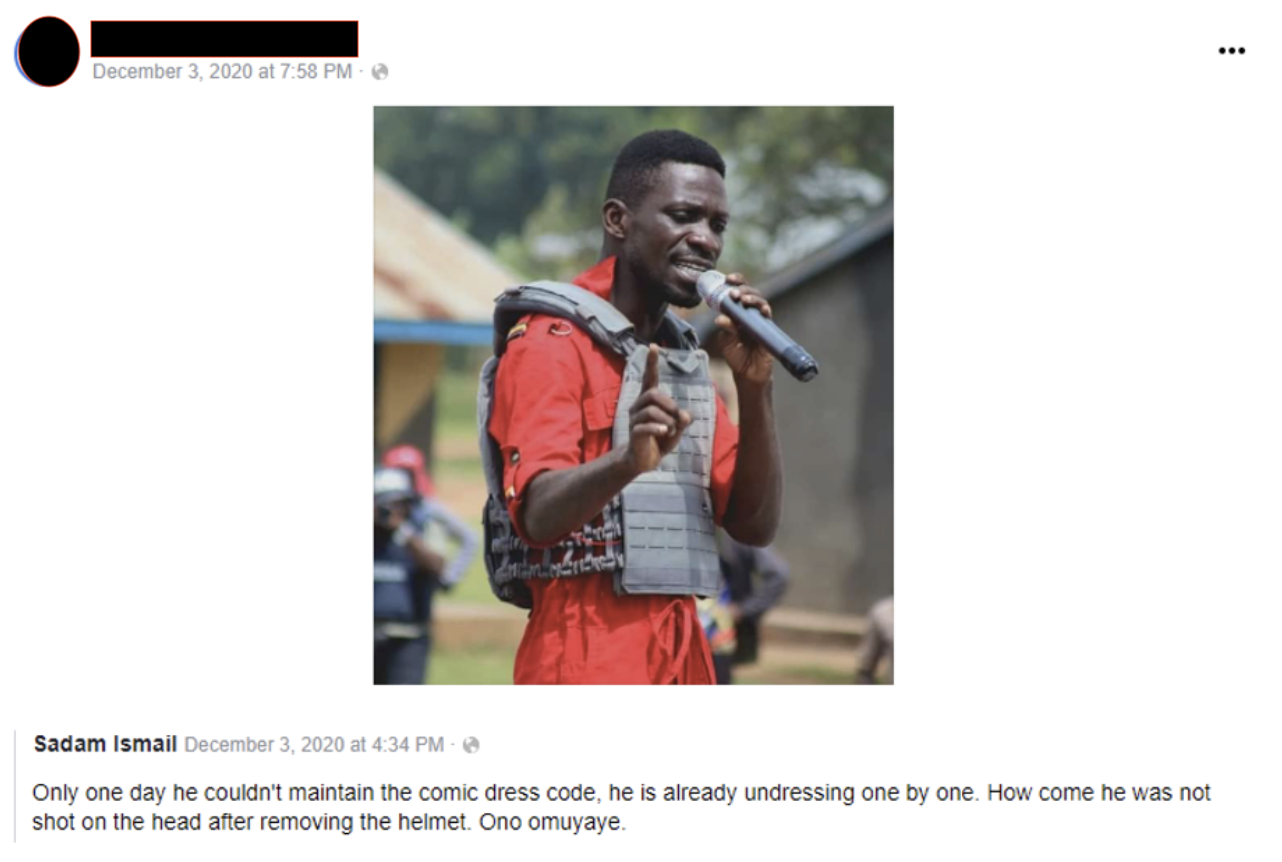 One government employee shared a post questioning why opposition candidate Bobi Wine was not shot in the head. (Source: Facebook)