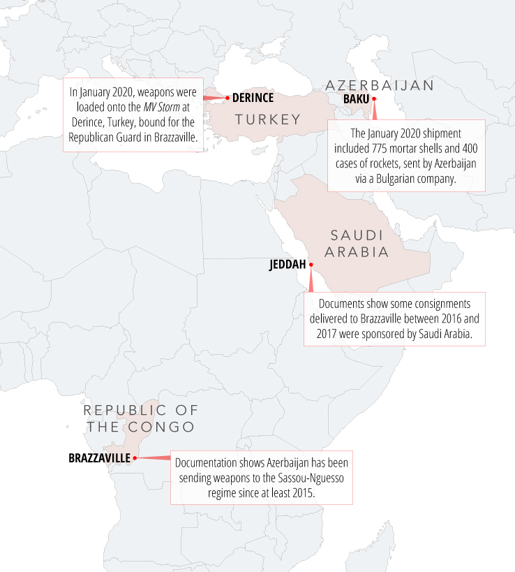 Credit: Edin Pasovic/OCCRP Key sites for arms deals between the Republic of the Congo and Azerbaijan.
