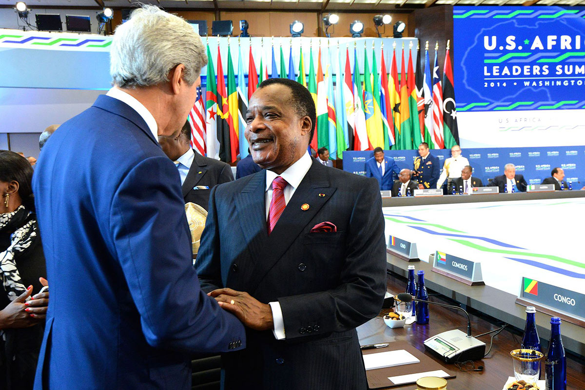 Then-U.S. Secretary of State John Kerry greets Denis Sassou Nguesso at a U.S.-Africa Summit in Washington, D.C., on August 6, 2014. Credit: U.S. Department of State/Flickr