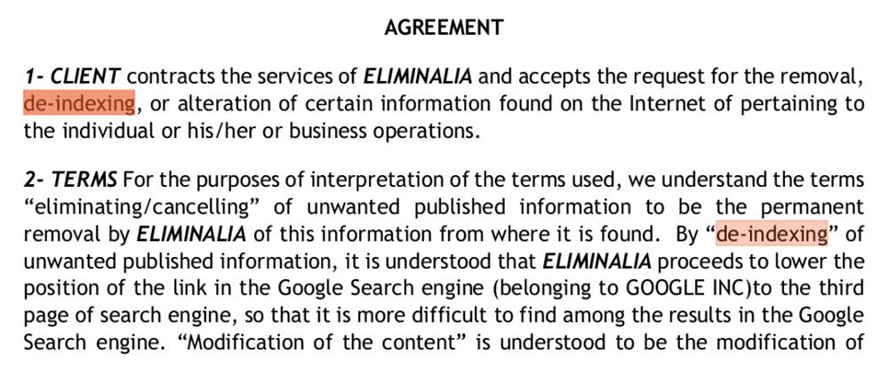De-indexing agreement