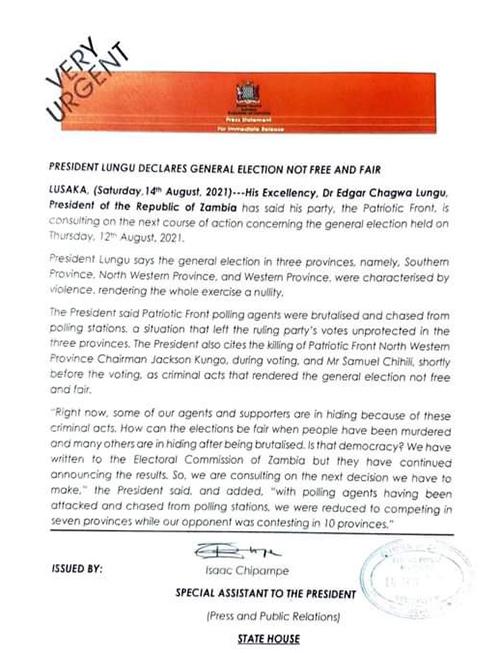 President Lungu's statement of 14th August 2021