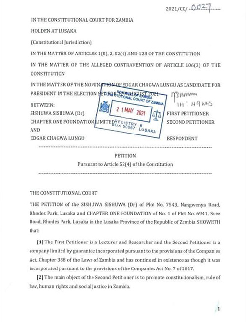 Chapter One Foundation petition